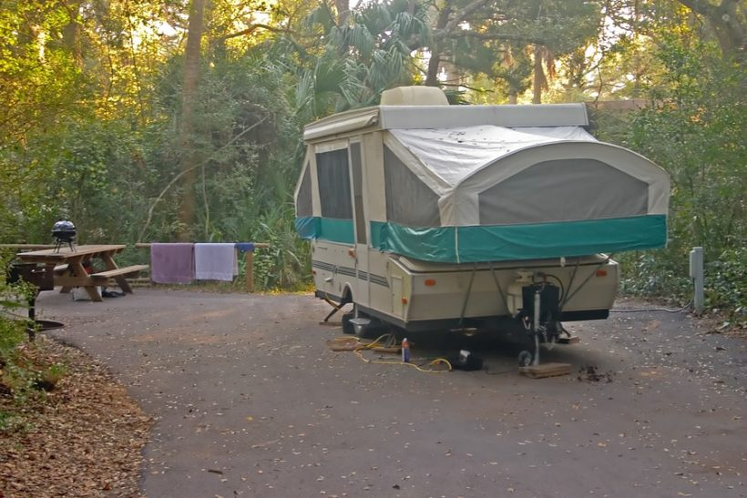 pop-up trailer in the park