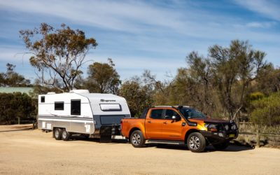 Lightweight trailer with orange truck