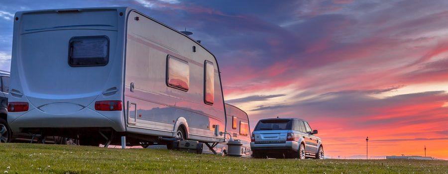 Travel trailer at sunset